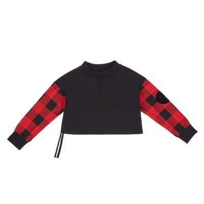 Checked-sleeve sweatshirt