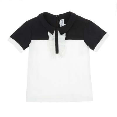 Jersey and crepe t-shirt
