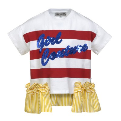 T-shirt with rouches and paillettes